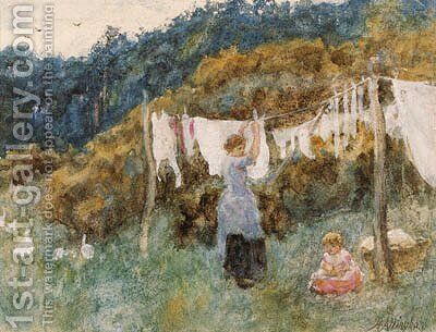 A study for The Clothes Line by Helen Mary Elizabeth Allingham, R.W.S. - Reproduction Oil Painting