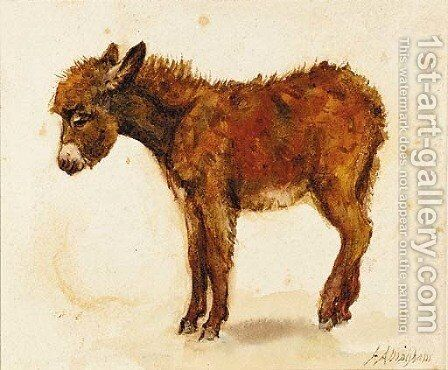 A study of a donkey recto and a study of a cornstook verso by Helen Mary Elizabeth Allingham, R.W.S. - Reproduction Oil Painting