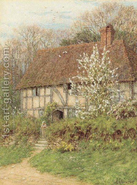 A Surrey cottage 2 by Helen Mary Elizabeth Allingham, R.W.S. - Reproduction Oil Painting
