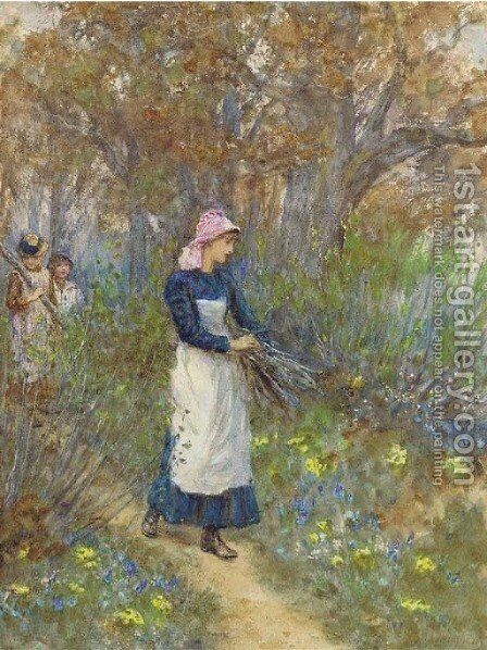Gathering firewood 2 by Helen Mary Elizabeth Allingham, R.W.S. - Reproduction Oil Painting
