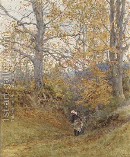 Gathering firewood, autumn by Helen Mary Elizabeth Allingham, R.W.S. - Reproduction Oil Painting