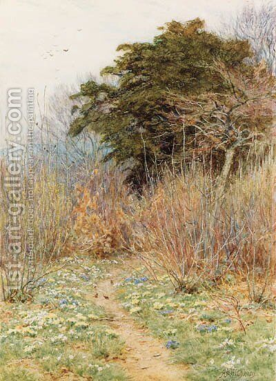 In a Spring Copse 'Here the white-rayed anemone is born' by Helen Mary Elizabeth Allingham, R.W.S. - Reproduction Oil Painting
