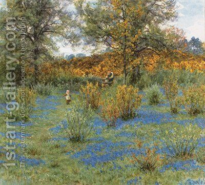 The bluebell copse by Helen Mary Elizabeth Allingham, R.W.S. - Reproduction Oil Painting