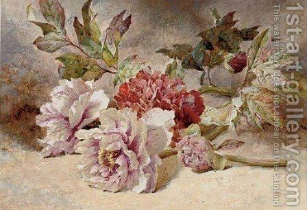Still life of rununculas and peonies by Helen Cordelia Coleman Angell - Reproduction Oil Painting