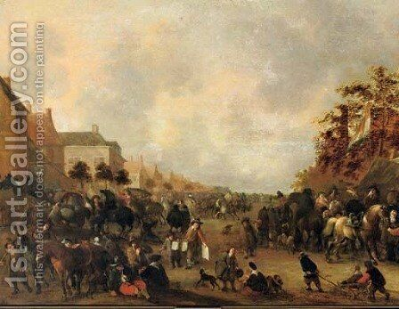 Horsemen, peasants and other figures in a busy village street by Hendrick De Meijer - Reproduction Oil Painting