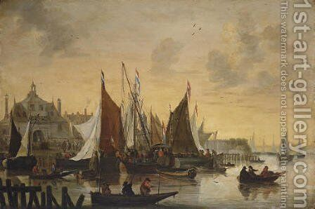View of the Oude Hoofdpoort, Rotterdam, with sportsmen shooting duck in the foreground by Hendrick De Meijer - Reproduction Oil Painting