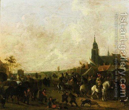 A horse fair outside a town by Henri Meyer - Reproduction Oil Painting