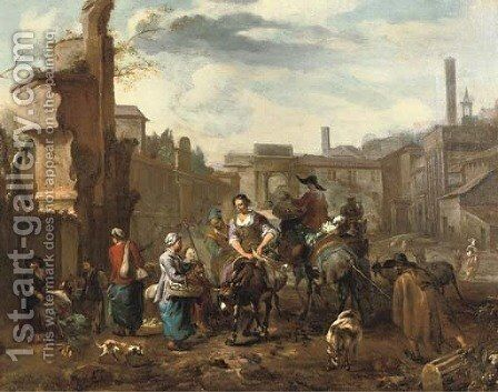 Marketeers on mules and other figures among ancient ruins in a town square by Hendrik Mommers - Reproduction Oil Painting