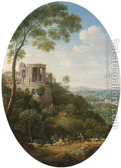 View of the Temple of the Sybil, Tivoli by Hendrik Frans Van Lint - Reproduction Oil Painting