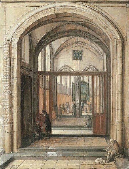 The entrance to a church by Hendrick Van Steenwijck II - Reproduction Oil Painting