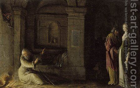 The interior of a crypt by night with the Temptation of Saint Antony by Hendrick Van Steenwijk II - Reproduction Oil Painting