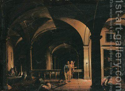 The Interior of a Crypt with the Liberation of Saint Peter, an open door leading to a moonlit landscape beyond by Hendrik van Steenwyck - Reproduction Oil Painting