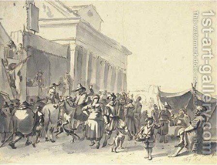 A crowd watching actors in an outdoor theater, with a couple dancing, a classical portico beyond by Hendrick Verschuring - Reproduction Oil Painting