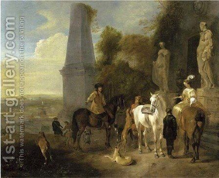 A hunting party resting outside a mausoleum, a city beyond by Hendrick Verschuring - Reproduction Oil Painting