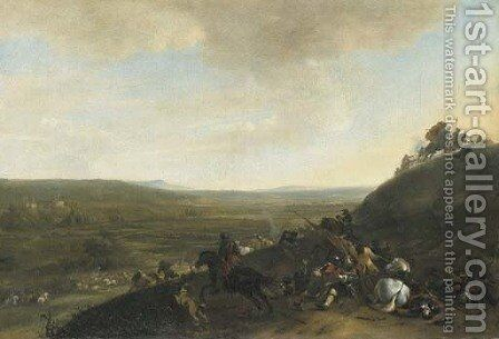 An extensive landscape with a cavalry skirmish by Hendrick Verschuring - Reproduction Oil Painting
