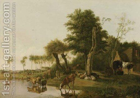 Het spiegelende koetje a milkmaid conversing with a peasant by a farmhouse, with cattle watering and sheep and goats by a tree, swimmers beyond by Hendrick Willelm Schweickhardt - Reproduction Oil Painting
