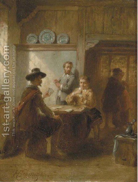 The card game by Hendricus Johannes Scheeres - Reproduction Oil Painting