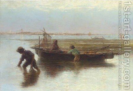 Shell fishers on the Venetian Lagoon by Hendricus-Jacobus Burgers - Reproduction Oil Painting