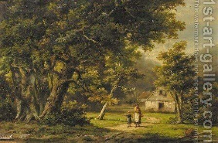 A peasant woman and a boy in a wooded landscape by Hendrik Barend Koekkoek - Reproduction Oil Painting