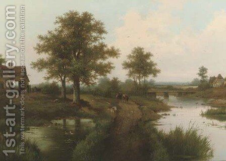 Cows on a country path by Hendrik Barend Koekkoek - Reproduction Oil Painting