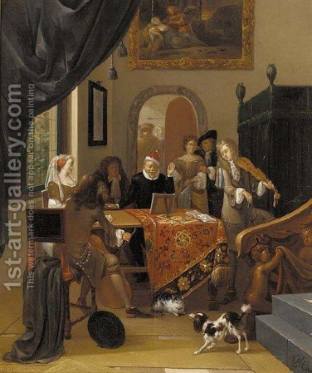 A music party in an elegant interior, seen past a trompe l'oeil curtain by Hendrik Carree - Reproduction Oil Painting