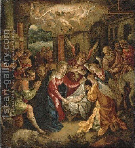 The Adoration of the Shepherds with the Annunciation to the Shepherds beyond by Hendrick De Clerck - Reproduction Oil Painting