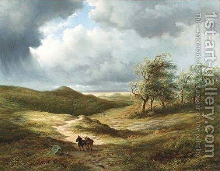 After the storm travellers on a path in an extensive undulating landscape by Hendrik-Dirk Kruseman van Elten - Reproduction Oil Painting