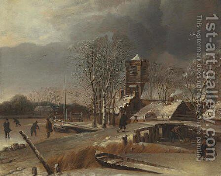 Winter landscape with skaters on a frozen canal by Hendrick Dubbels - Reproduction Oil Painting