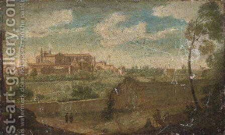 A wooded landscape with figures by a wall in the foreground and a view of the Basilica of St John Lateran, Rome beyond by Hendrik Frans van Lint (Studio Lo) - Reproduction Oil Painting