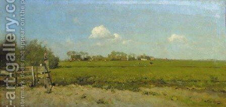 A panoramic summer landscape with a village in the distance by Hendrik Frauenfelder - Reproduction Oil Painting