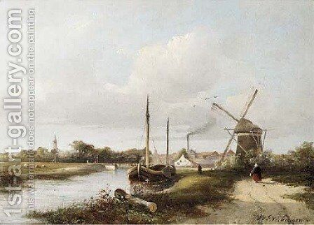 A view of a town by a river by Hendrik Frederik Verheggen - Reproduction Oil Painting