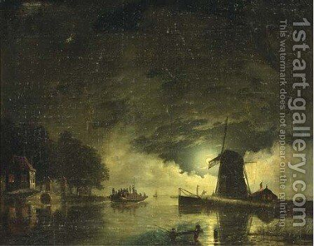 A ferry crossing by moonlight by Hendrik Gerrit ten Cate - Reproduction Oil Painting