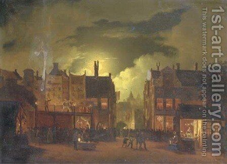 A street-fair by moonlight by Hendrik Gerrit ten Cate - Reproduction Oil Painting