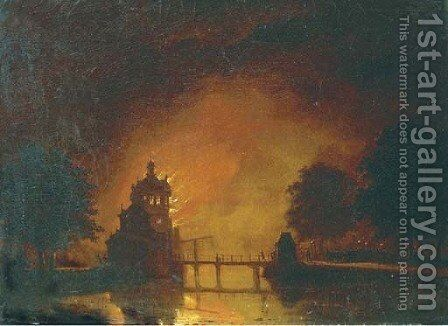 A tower ablaze by Hendrik Gerrit ten Cate - Reproduction Oil Painting