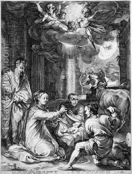 The Adoration of the Shepherds, from The Life of the Virgin by Hendrick Goltzius - Reproduction Oil Painting