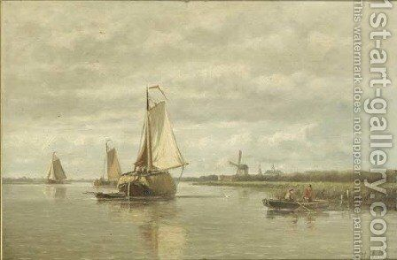 A calm a haybarge on a river by Hendrik Hulk - Reproduction Oil Painting