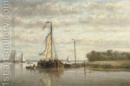 Along a river in summer by Hendrik Hulk - Reproduction Oil Painting