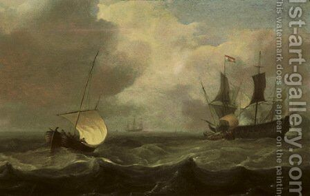 Sailing vessels in a stiff breeze with a man o'war firing a salute by Hendrik Jakobsz. Dubbels - Reproduction Oil Painting