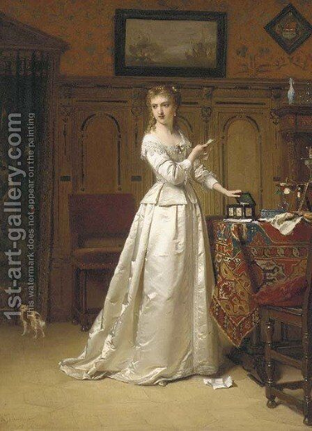 The Letter by Hendrik Jacobus Scholten - Reproduction Oil Painting
