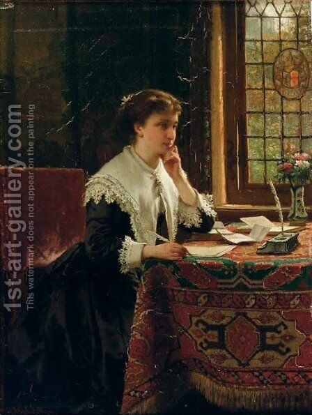 The love letter by Hendrik Jacobus Scholten - Reproduction Oil Painting