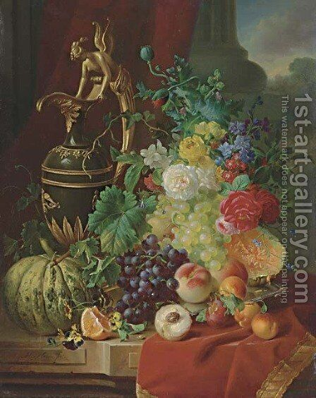 A Still Life with Peaches, Oranges, Melon, Roses and an Ewer on a stone Ledge by Jan Hendrik Verheijen - Reproduction Oil Painting