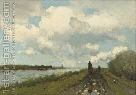 Langs de Vaart along the river near Noorden by Jan Hendrik Weissenbruch - Reproduction Oil Painting