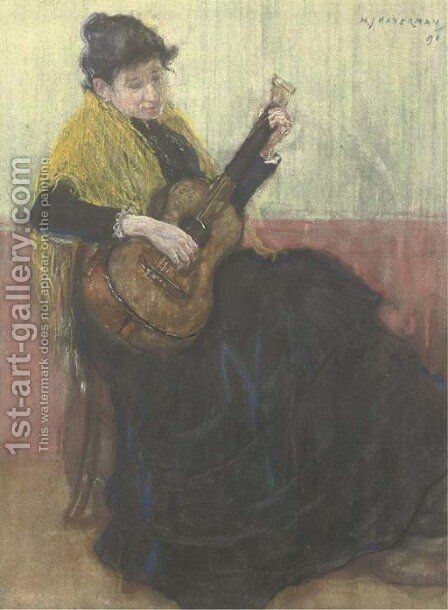 Playing the guitar by Hendrik Johannes Haverman - Reproduction Oil Painting