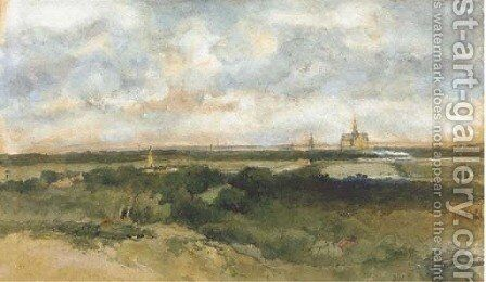 A panoramic view of Haarlem from the dunes by Johan Hendrik Weissenbruch - Reproduction Oil Painting