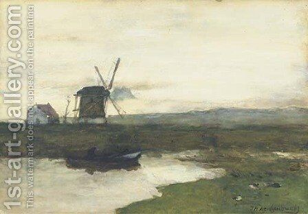 A windmill in a polder landscape by Johan Hendrik Weissenbruch - Reproduction Oil Painting