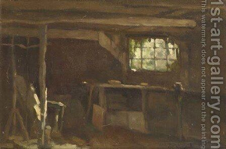 Barn interior by Johan Hendrik Weissenbruch - Reproduction Oil Painting