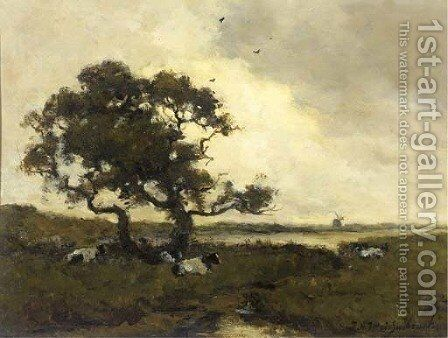 Cattle resting under a tree in a polder landscape by Johan Hendrik Weissenbruch - Reproduction Oil Painting
