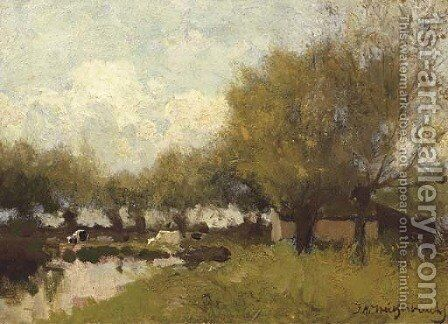 Cows under willows by a pond by Johan Hendrik Weissenbruch - Reproduction Oil Painting