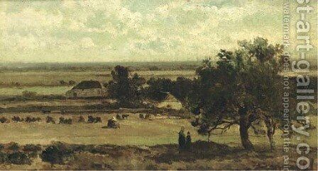Extensive farmlands by Johan Hendrik Weissenbruch - Reproduction Oil Painting
