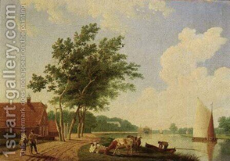A farm by a river with cattle and peasants on a road by Hendrik Keun - Reproduction Oil Painting